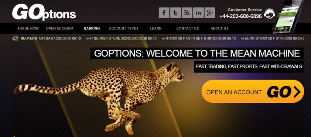 GOptions Binary Options Broker Home Page