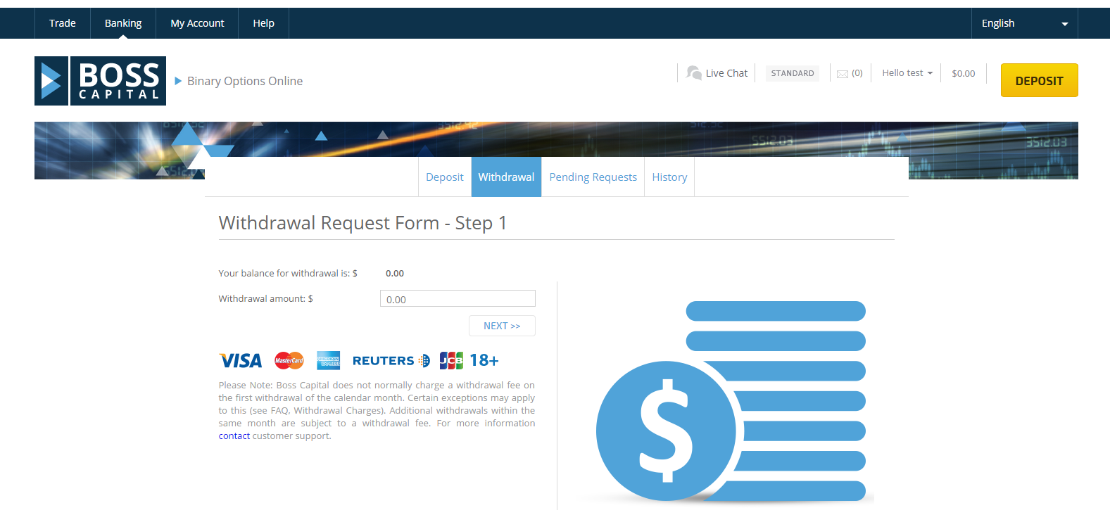 Boss Capital Withdrawal Page