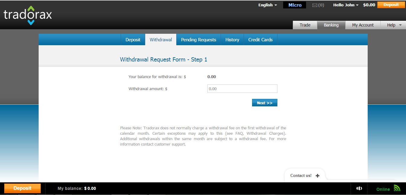Tradorax Withdrawal Page