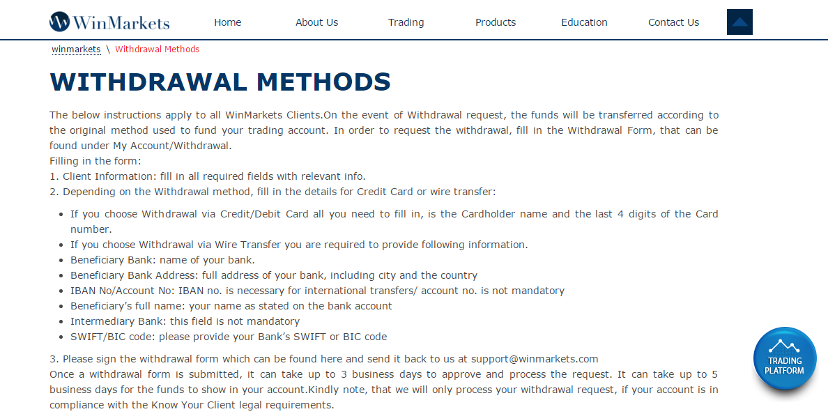 WinMarkets Withdrawal Methods