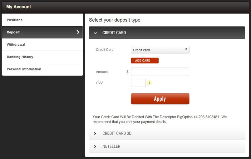 BigOption Deposit Page