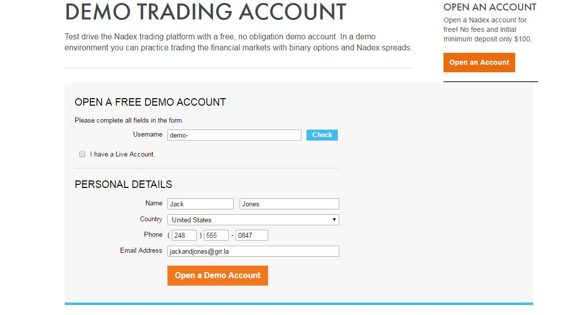Nadex Demo Account