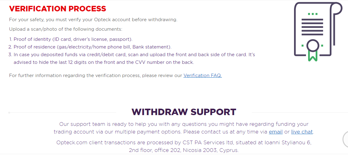 Opteck Withdrawal Procedure