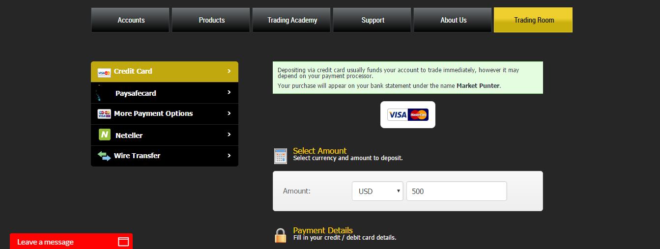 V8options Deposit Page