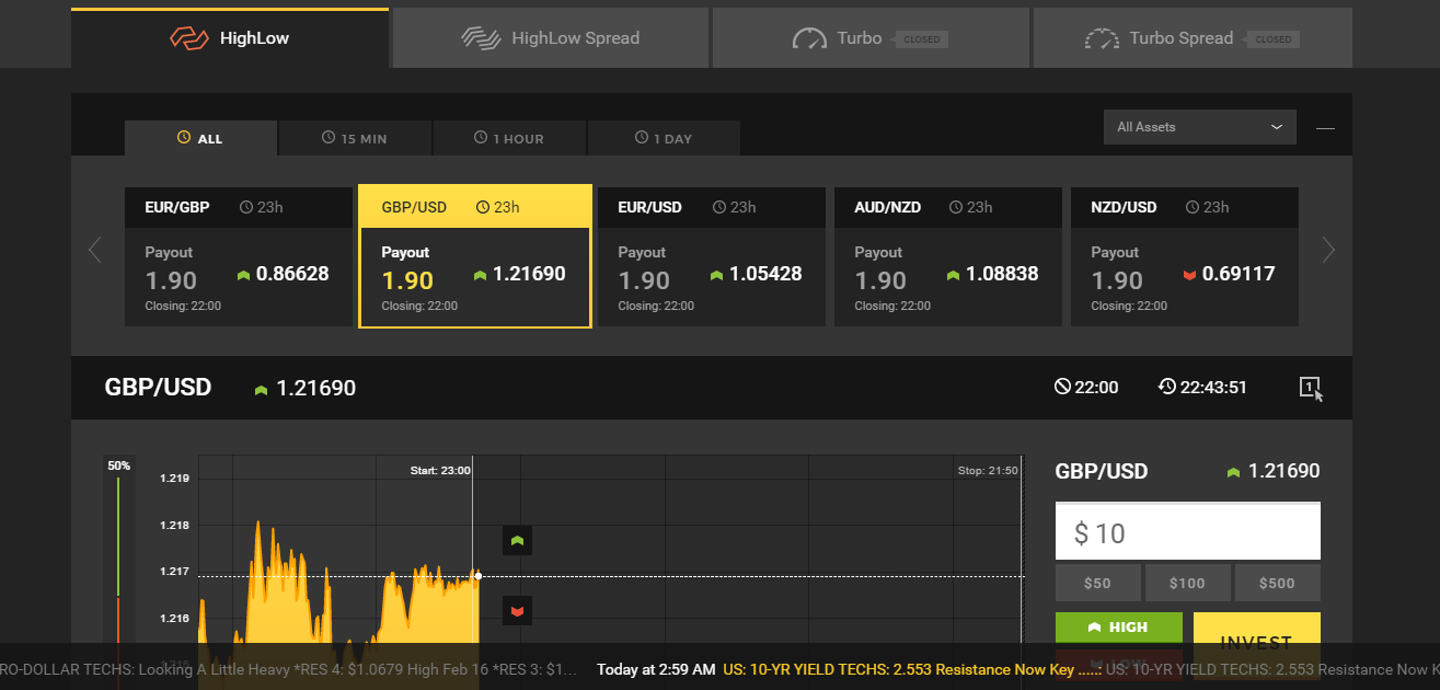 HighLow Binary Options Trading Platform