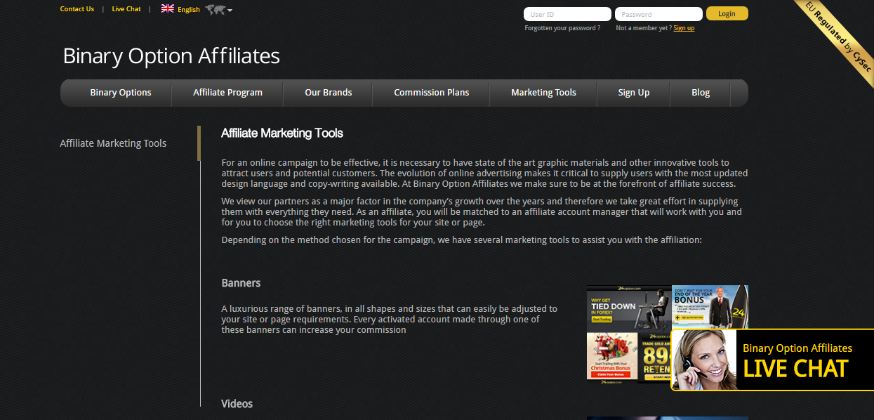 24option Affiliate Marketing Tools