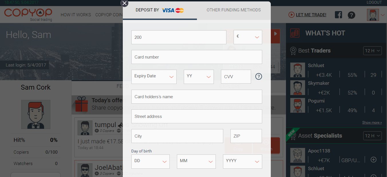 Copyop Deposit Page
