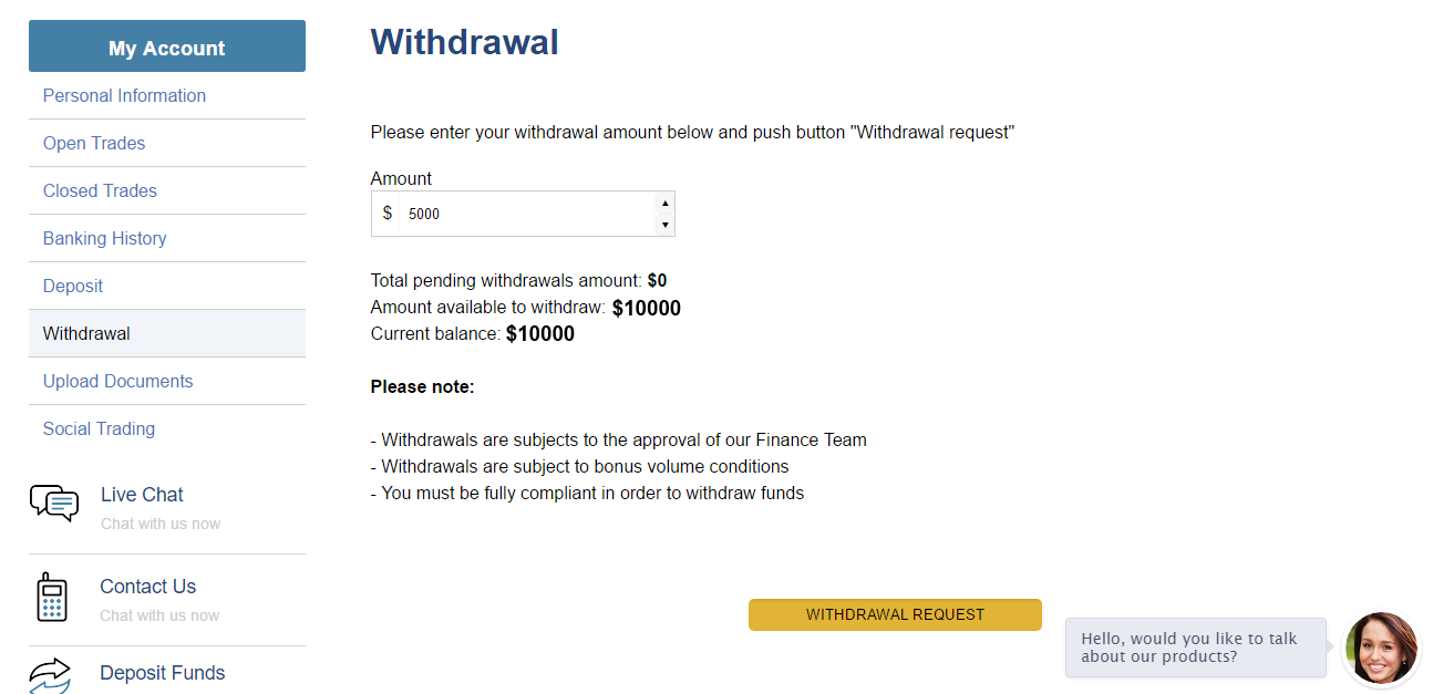 RBinary Withdrawal Page