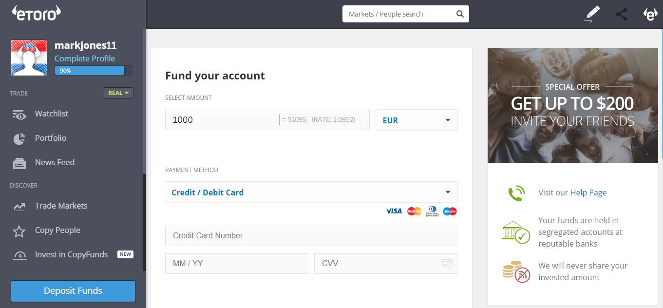 eToro Deposit Page