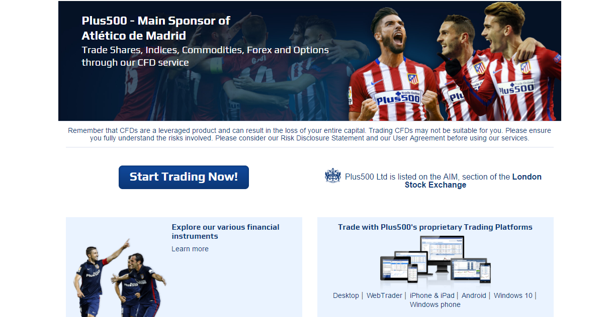 Plus500 Atletico Madrid Sponsorship
