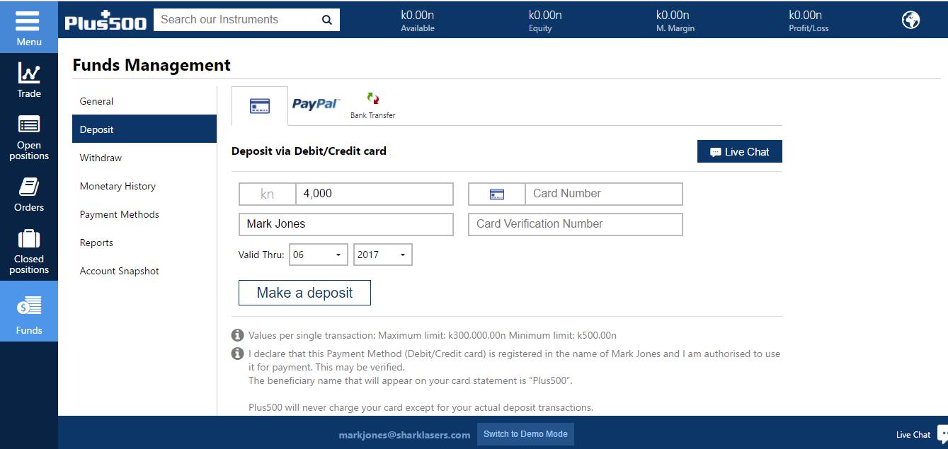 Plus500 Deposit Page