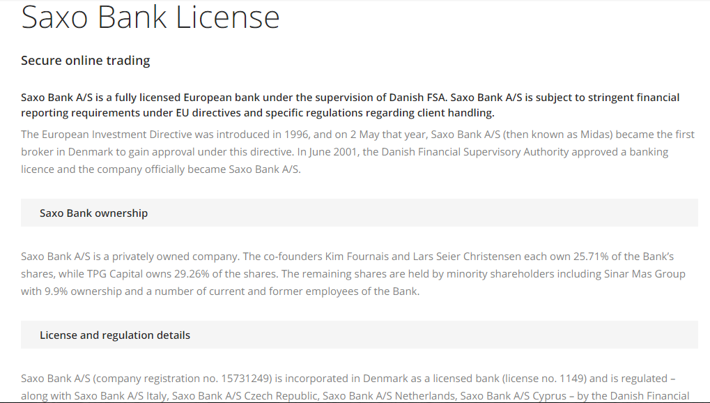 Saxo Bank License
