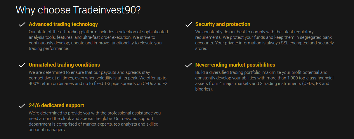 TradeInvest90 Features