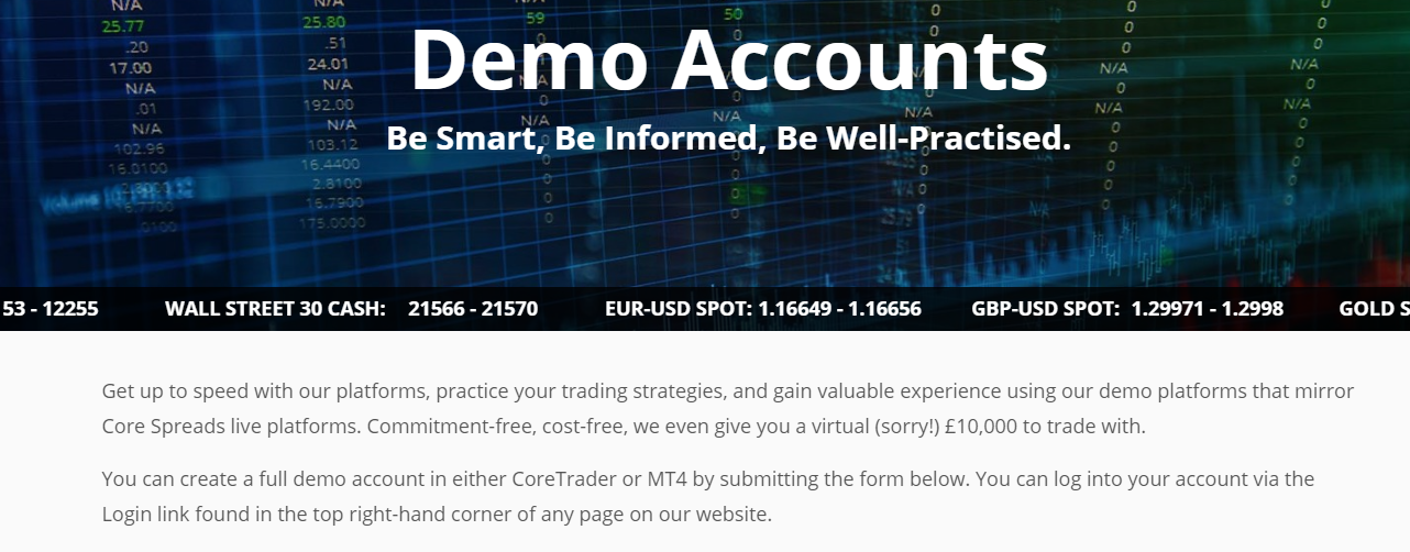 Core Spreads Demo Account