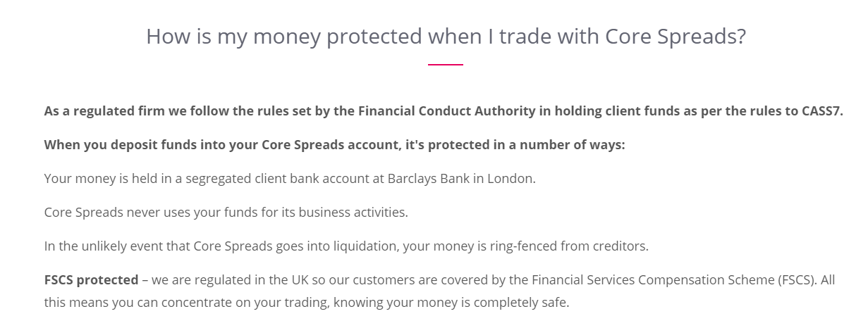 Core Spreads Safety of Funds