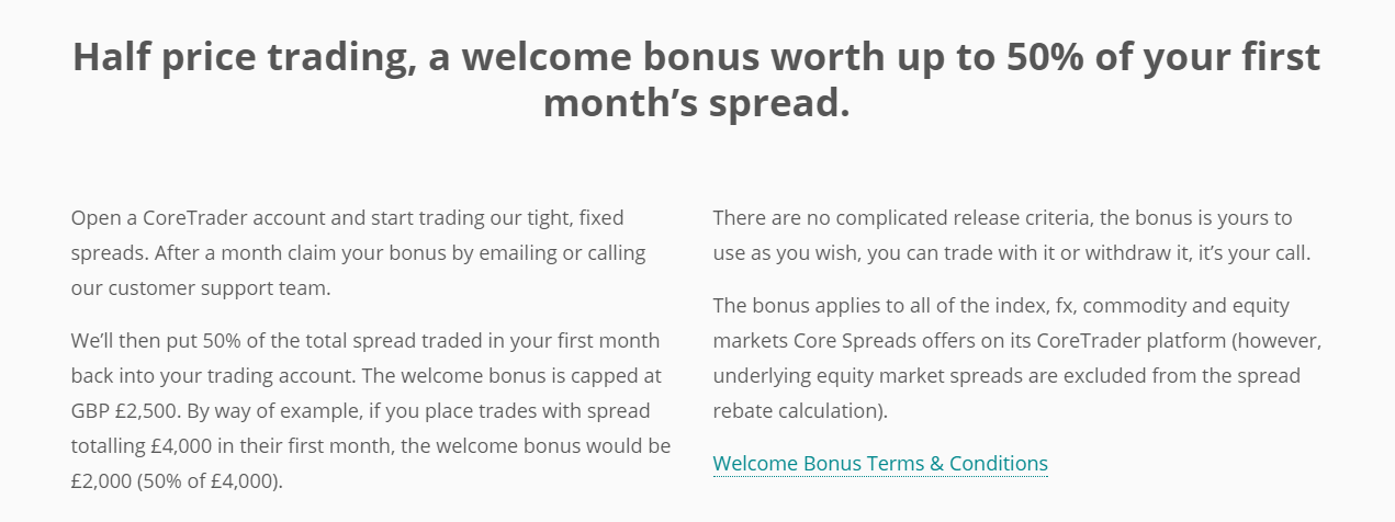 Core Spreads Welcome Bonus