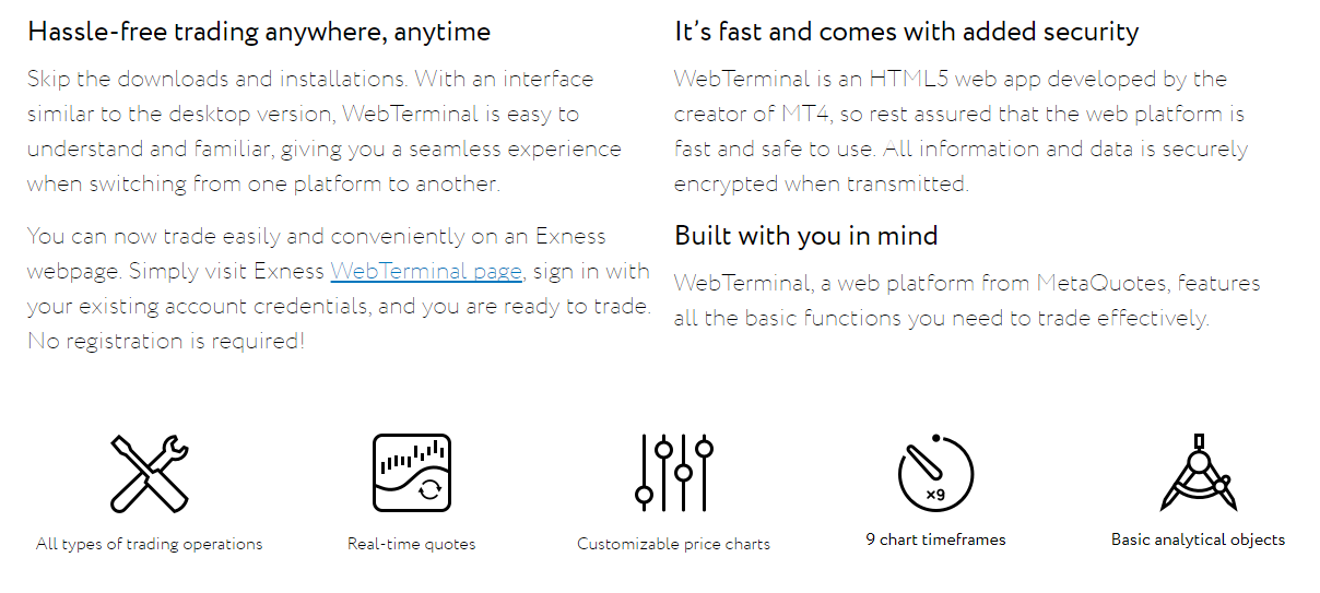 Exness WebTerminal Features