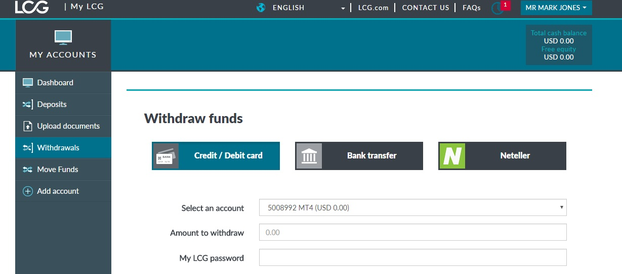 London Capital Group Withdrawal Page