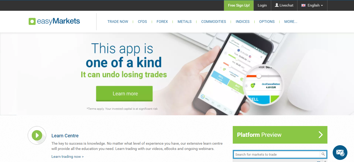 easyMarkets Home Page