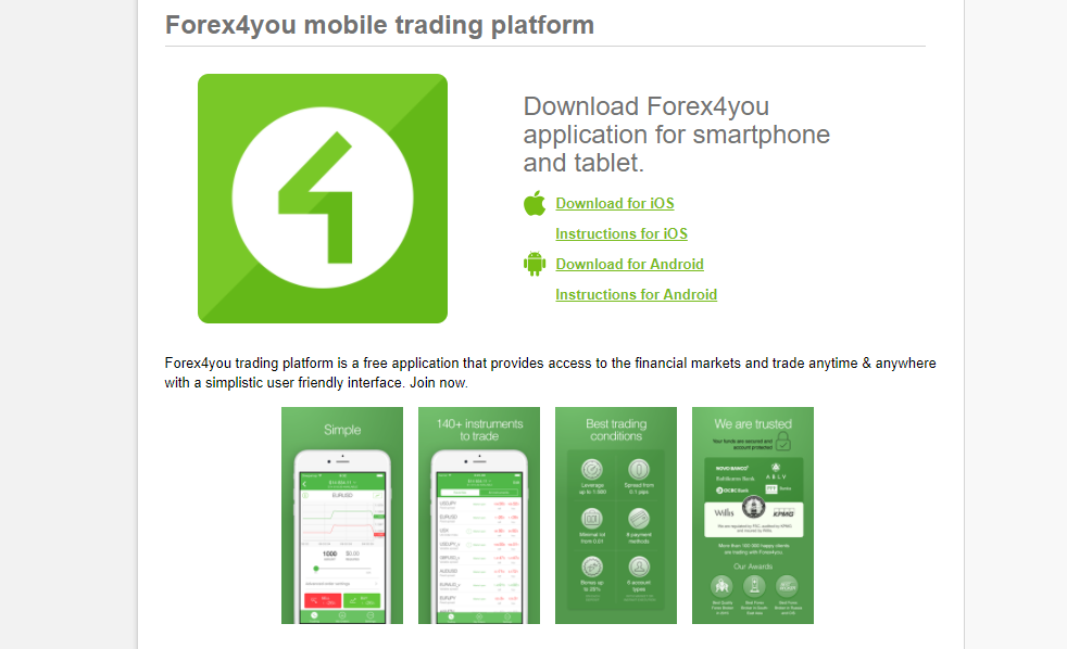 Forex4you Mobile Platform
