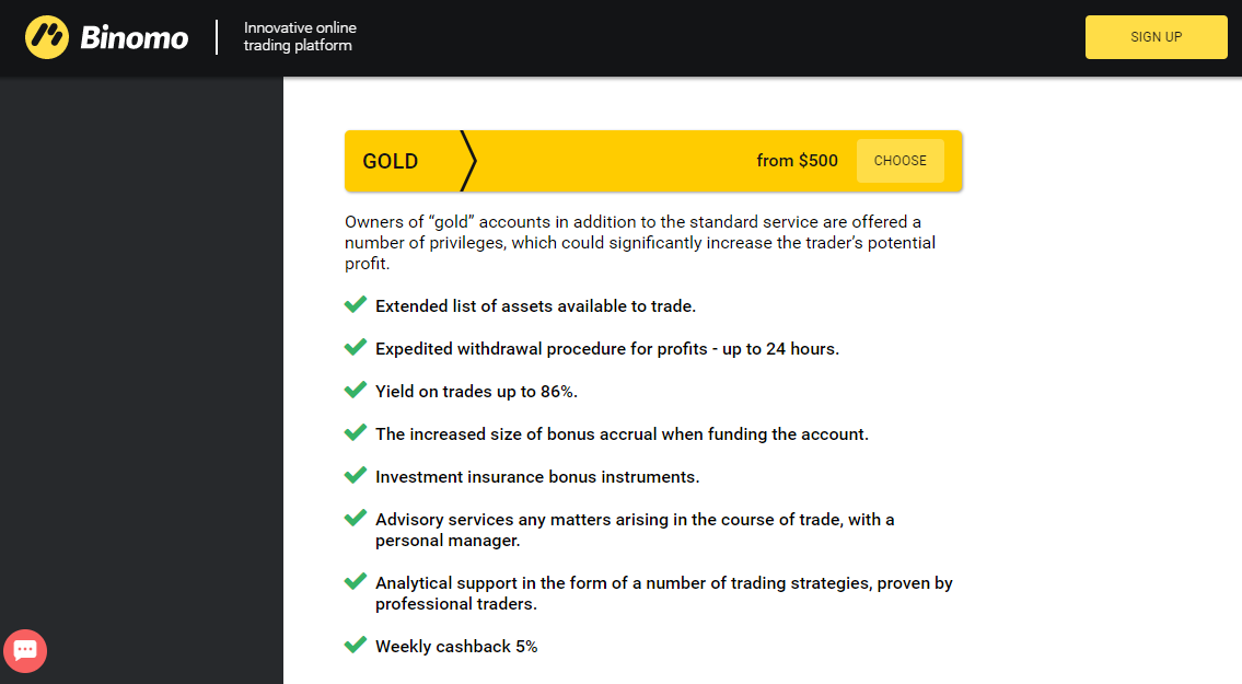 Binomo Gold Account