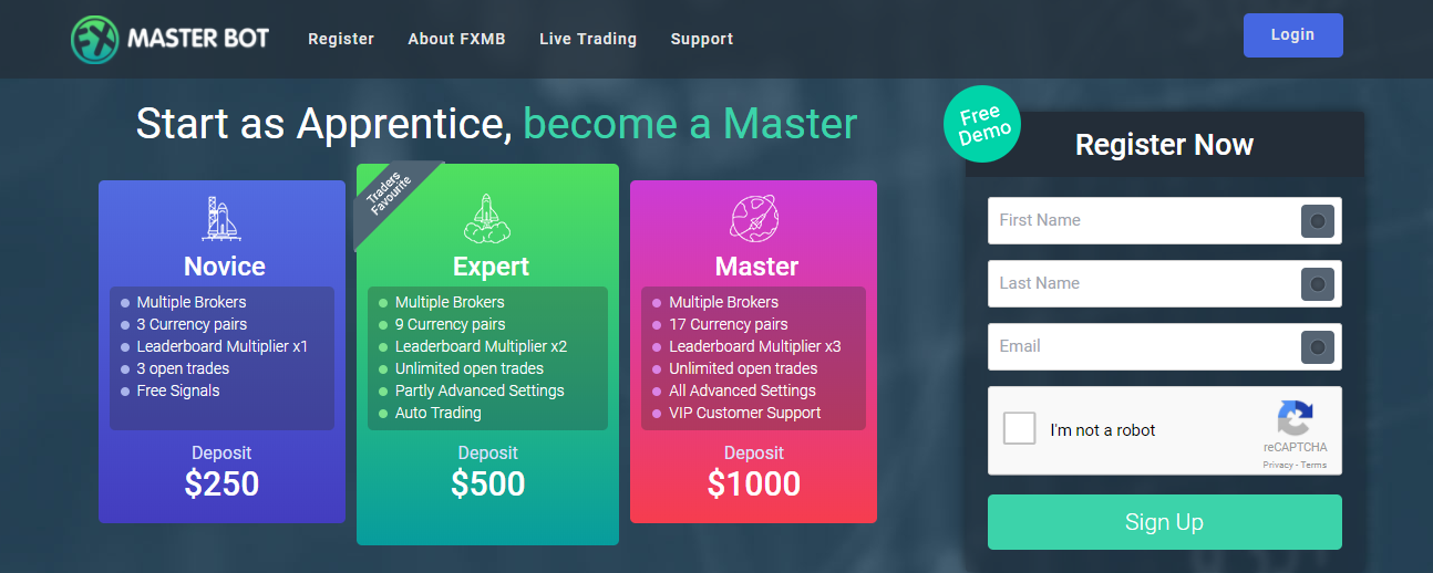 FXMasterBot Accounts