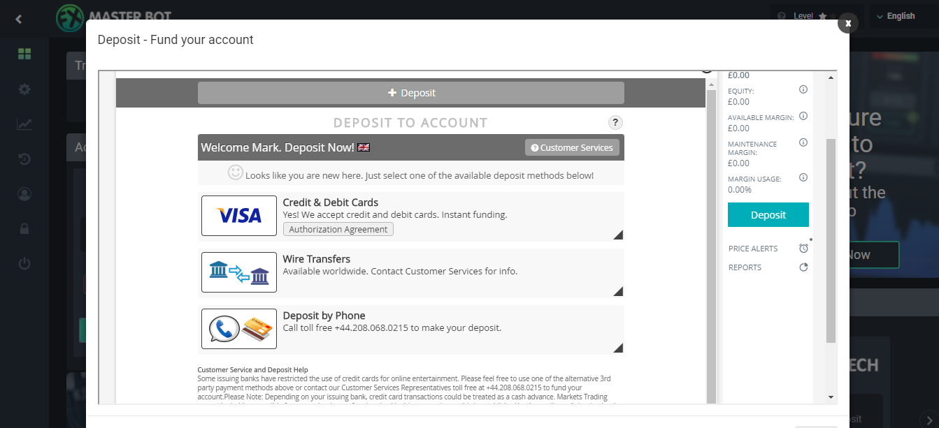 FXMasterBot Deposit Page