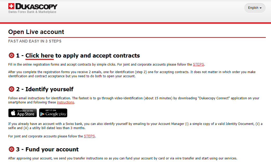 Dukascopy Account Creation