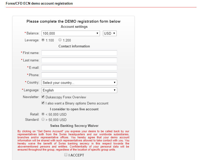 Dukascopy binary options demo account