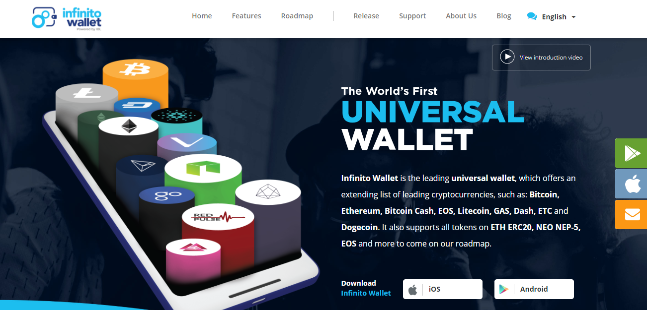 Infinito Wallet Home Page